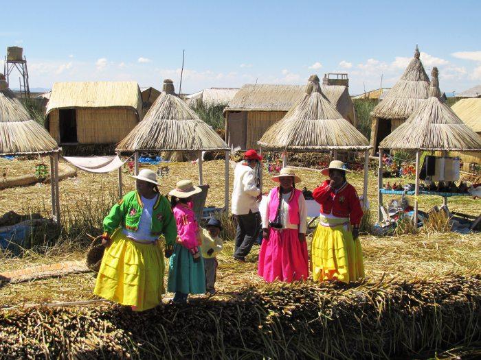 Uros people floating islands lake Titicaca