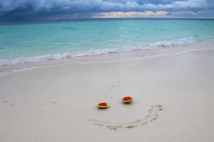 Happy tropical beach
