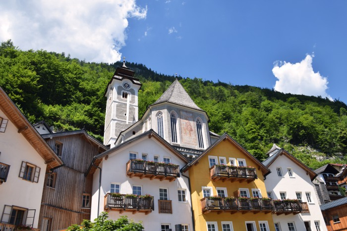 Hallstatt houses and Catholic parish church