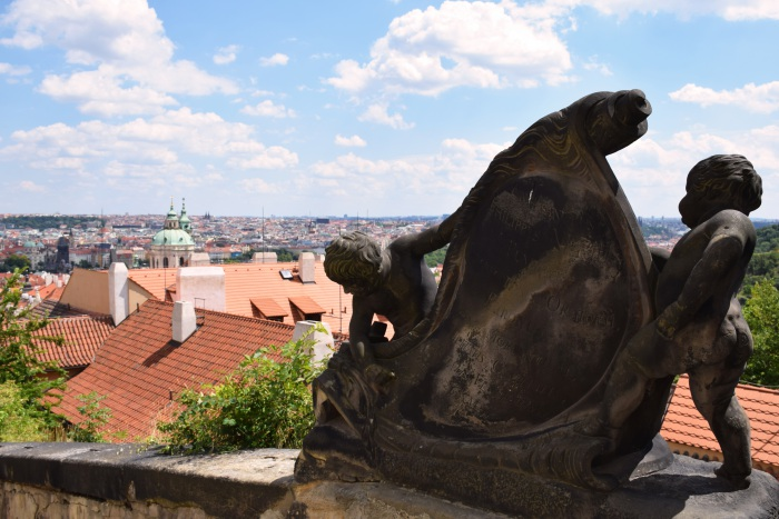 Prague city view statue