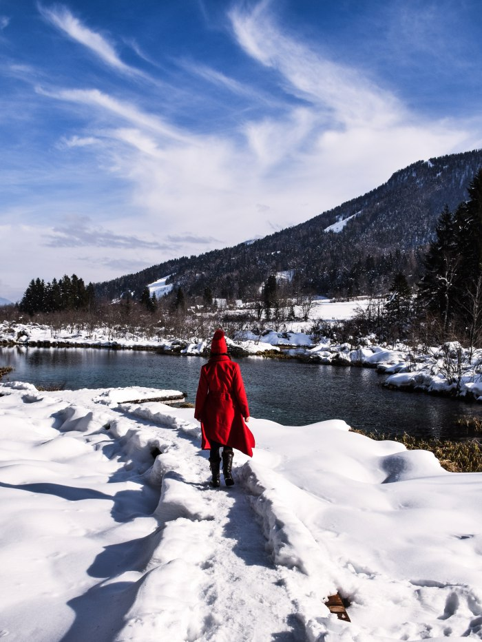 Zelenci lake Slovenia red coat