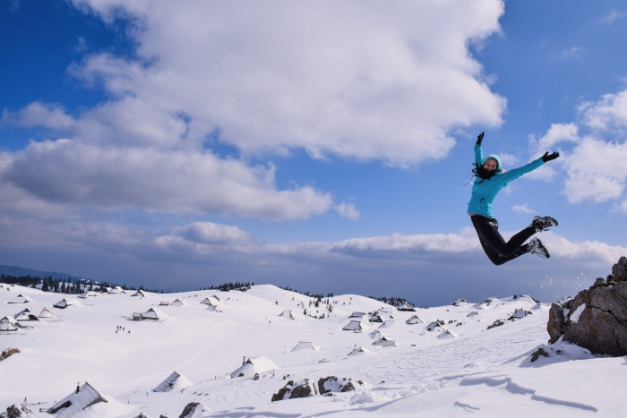 Girl winter jump