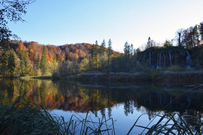 Plitvice lake reflection autumn
