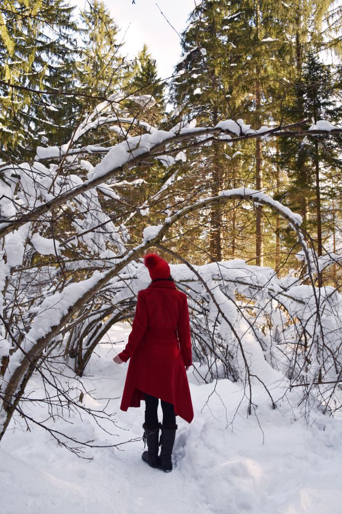 Slovenia winter red coat