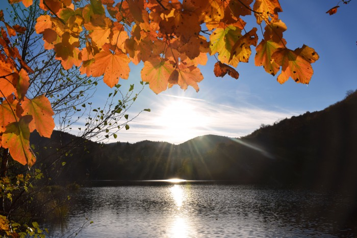 Sunny autumn day at Plitvice lakes national park